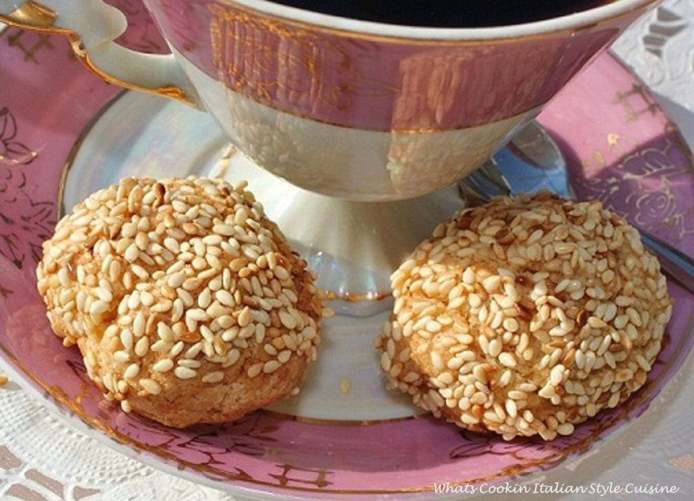 these sesame cookies are the best sesame cookies you will ever eat they are crunchy soft and these are lemon flavored my family recipes for over 100 years