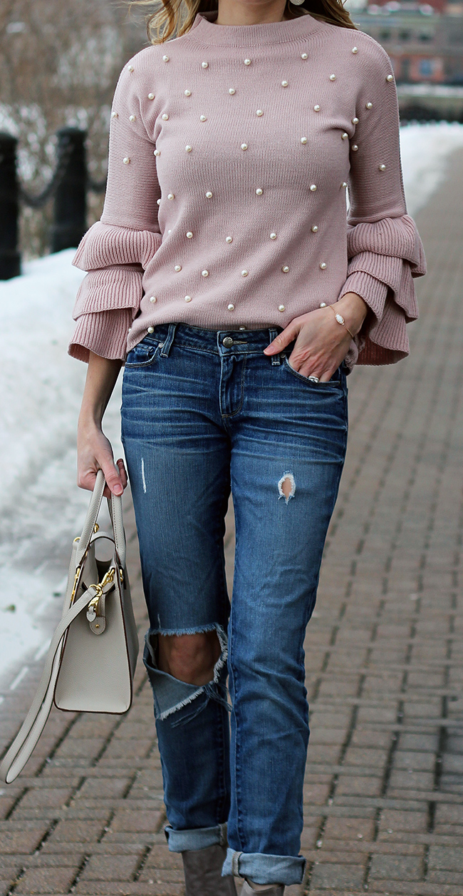 Ruffle Sleeve Sweater #sweater #pearls #tieredsleeves