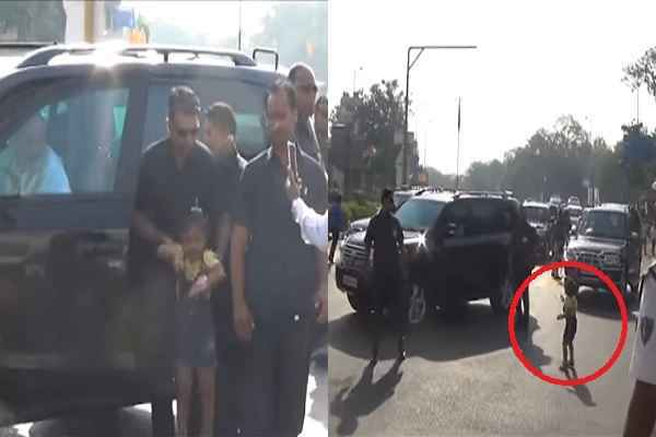pm-narendra-modi-meet-4-year-girl-nainsi-bundelia-on-road-surat