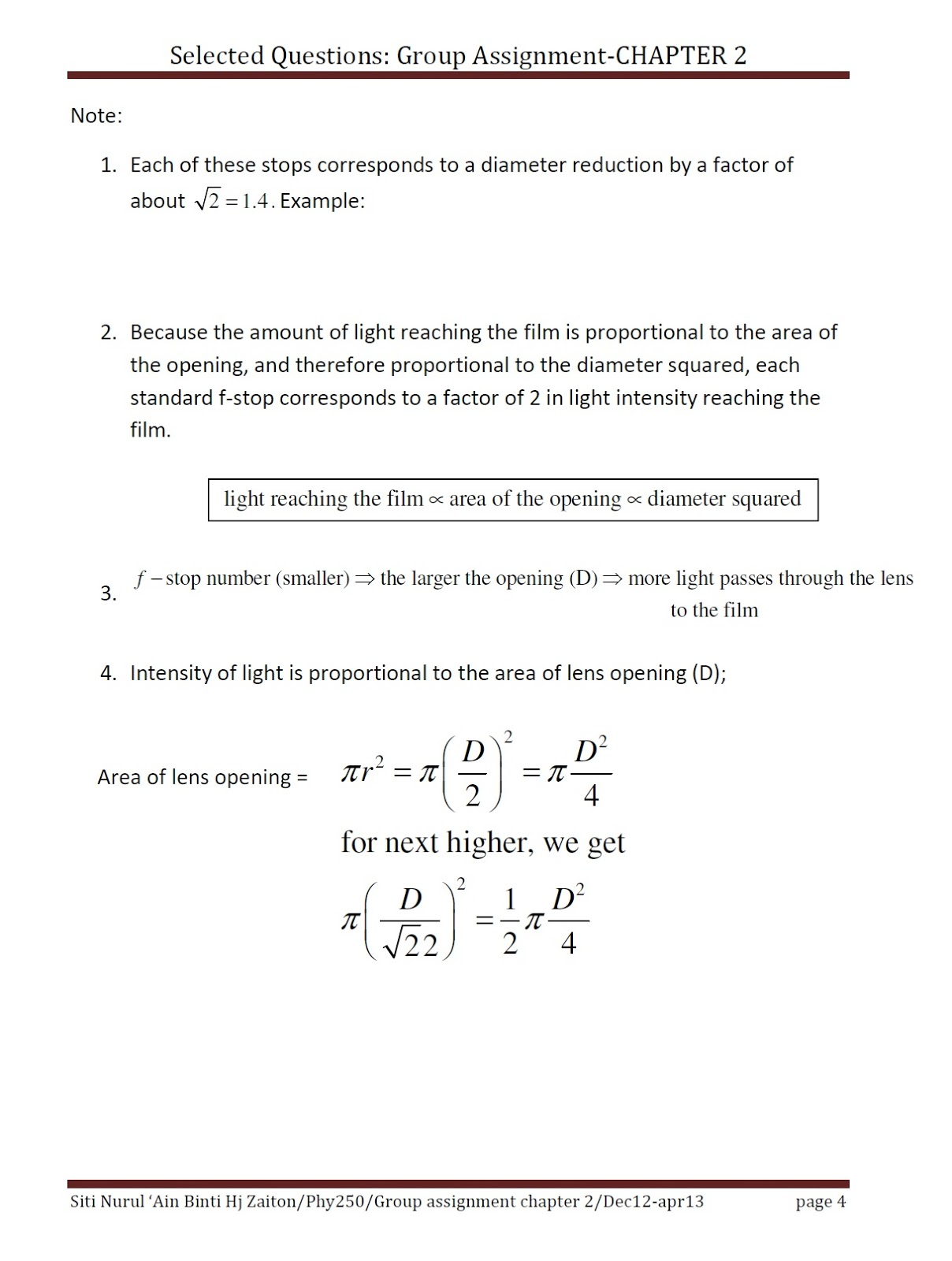 All My Subjects Part 4 Selected Questions Phy250 Group Assignment