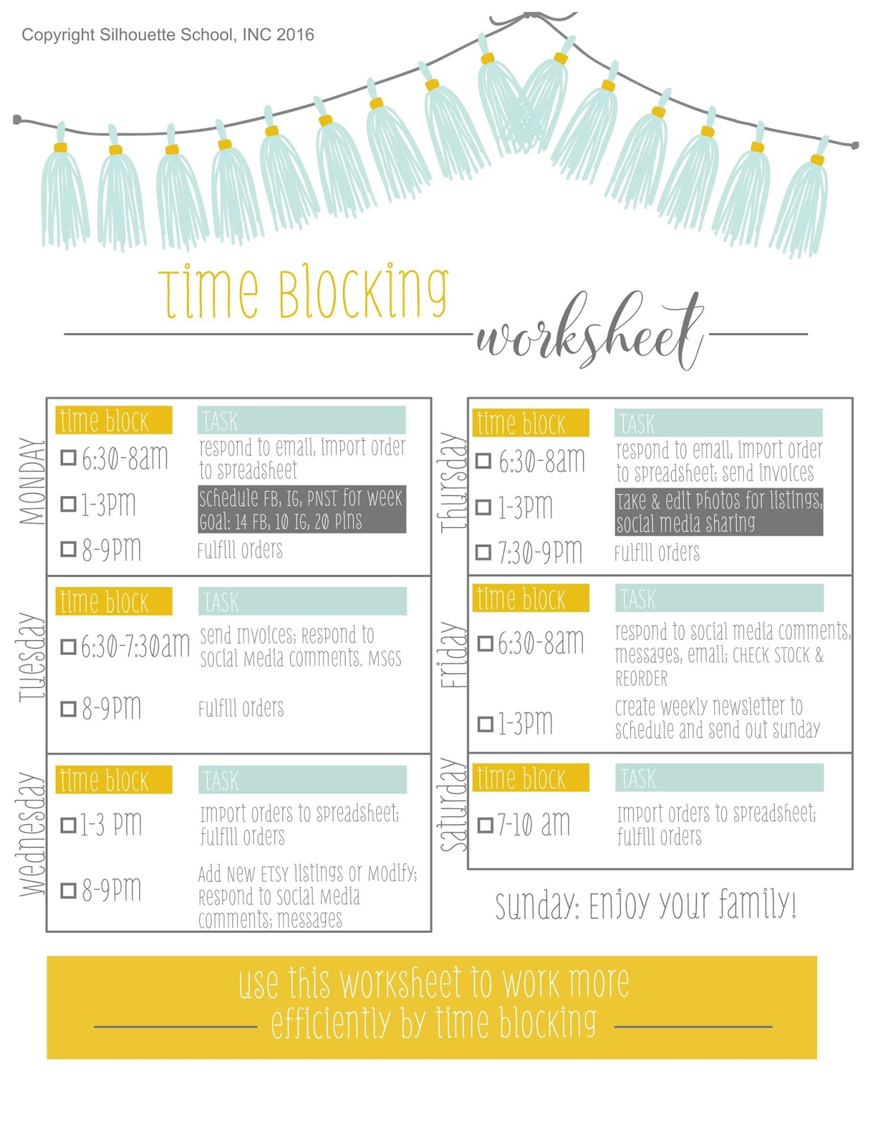 silhouette cameo business time management time blocking