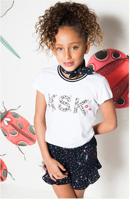 Shorts y remeras de moda verano 2018 ropa para niñas. Moda infantil primavera verano 2018.