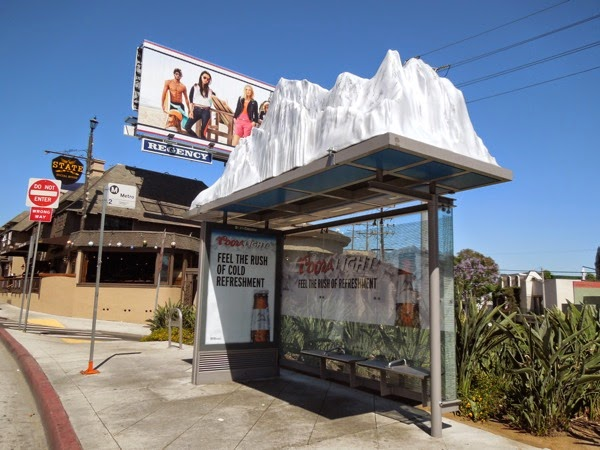 Coors Light snowy mountain peaks bus shelter Sunset Strip