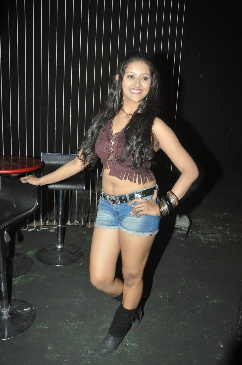 Actress Pooja Tiwari Hot Short Jeans Shiner Photos