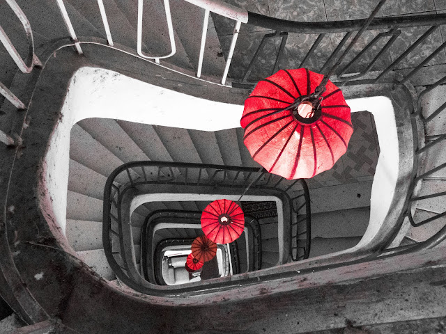 Staircase with red lanterns in Ho Chi Minh City Vietnam