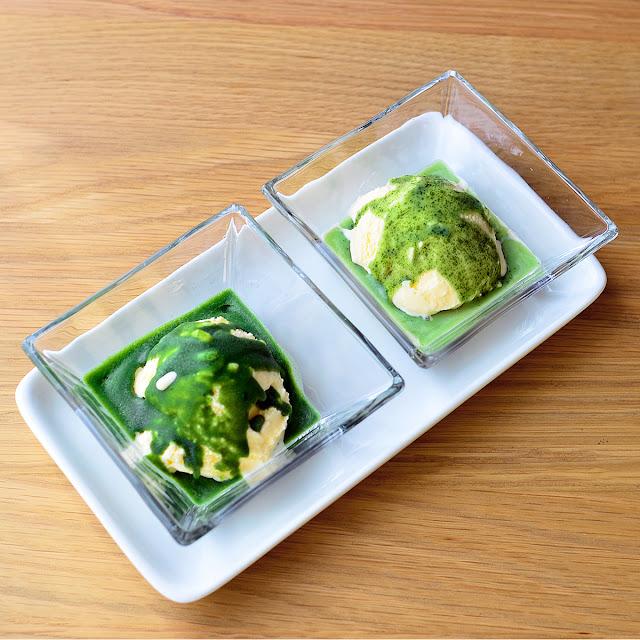 日本茶ノ生餡「しずおか緑茶・抹茶」を使った、パリパリ茶アイスのレシピ。おいしい日本茶研究所。