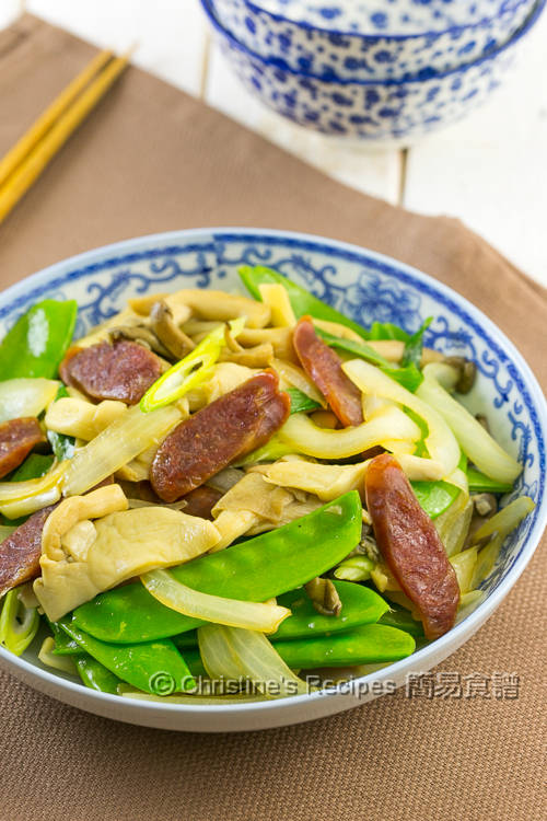 荷蘭豆雙菇炒臘腸 Stir-fried Snow Peas with Mushrooms and Chinese Sausage01
