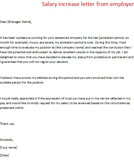 Letter Template To Ask For A Raise – Pay Raise Letter Template