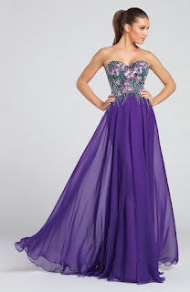Long purple embroidery prom dress
