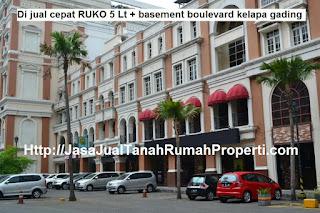 Di jual cepat RUKO 5lt+basement boulevard kelapa gading