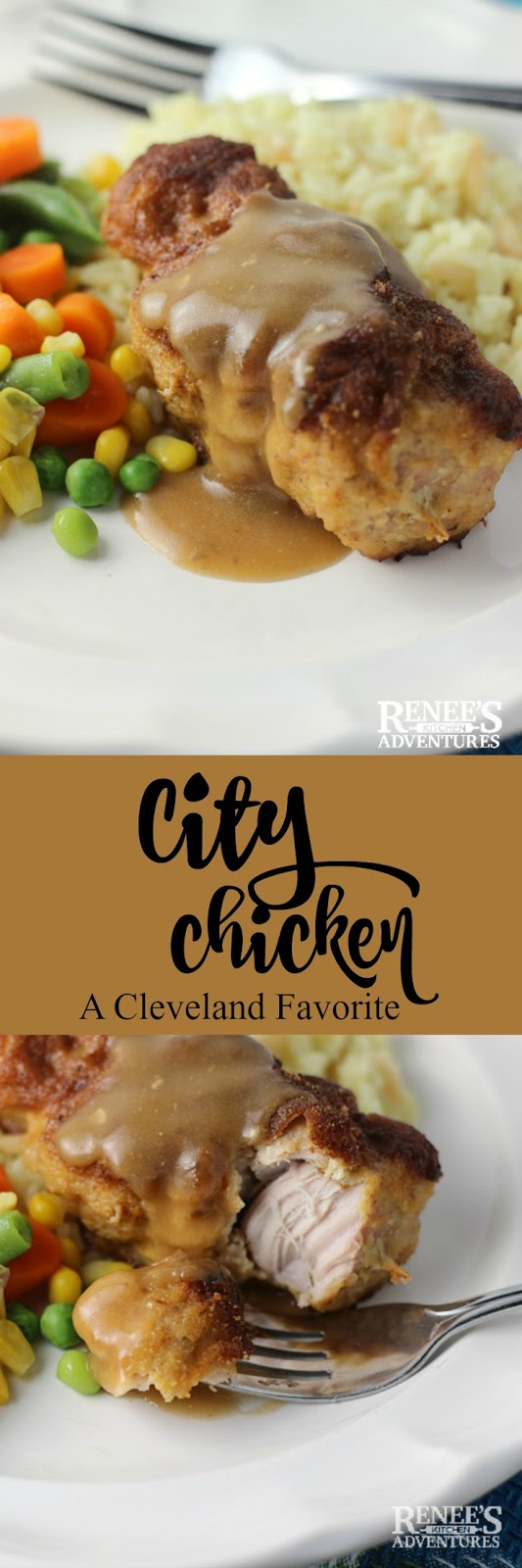 City Chicken pin for pinterest with 2 images of city chicken and recipe title.