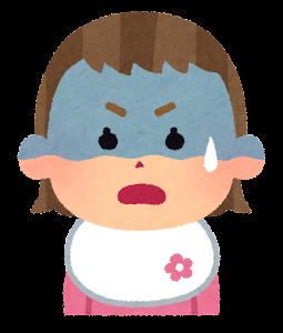 赤ちゃんの表情のイラスト(女・青ざめた顔)