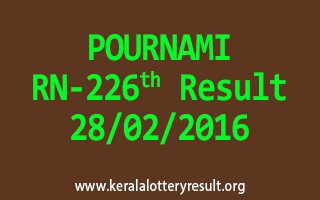 POURNAMI RN 226 Lottery Result 28-02-2016