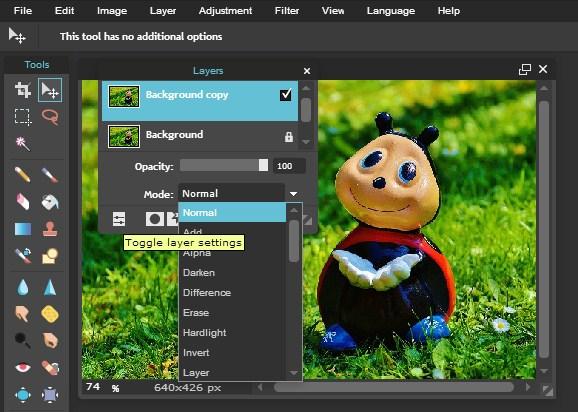 Mode Layer Pixlr Editor