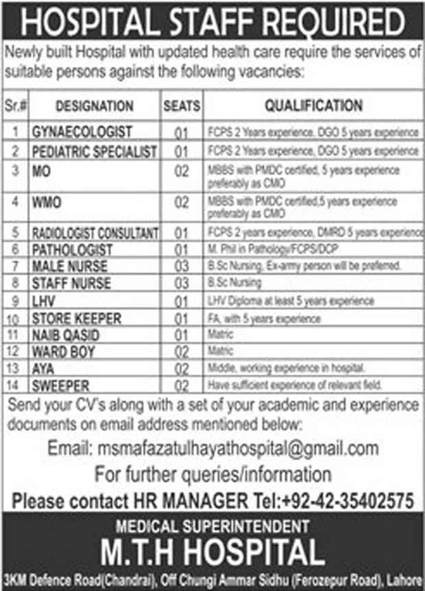 jobs in MTH Hospital  Lahore sep 2017