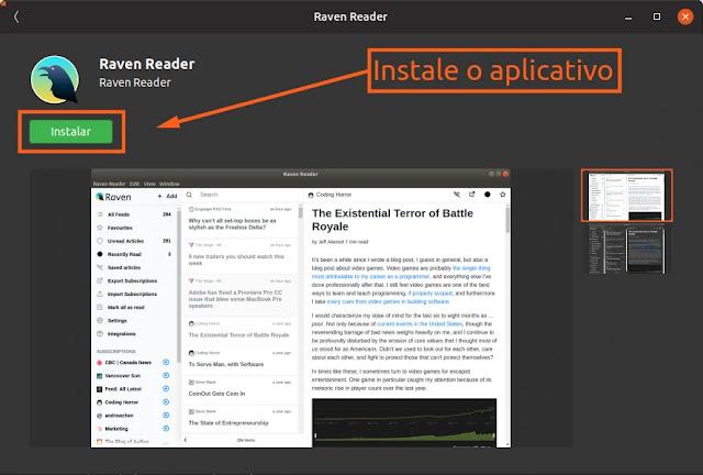 raven-reader-leitor-feed-rss-loja-ubuntu-snap-linux