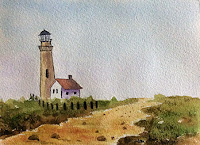 A landscape created during a water colour painting workshop