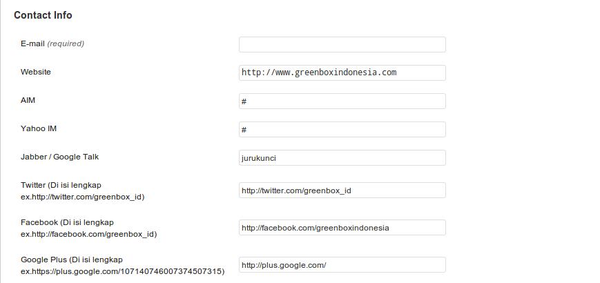 Membuat Form tambahan Link Social Network (facebook,twitter,googleplus) pada user profile