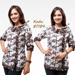 Model Baju Batik Kantor Wanita Kombinasi Modis