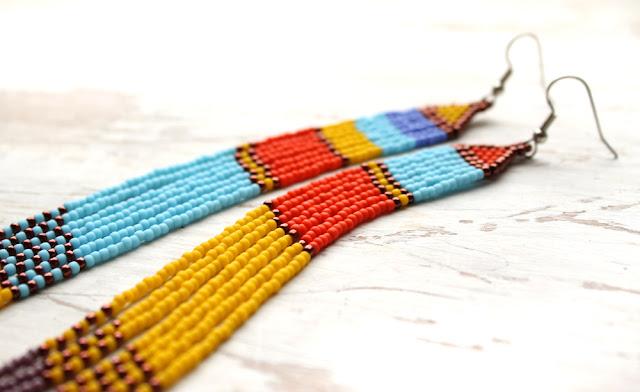 яркие украшения купить очень длинные серьги купить в подарок хиппи