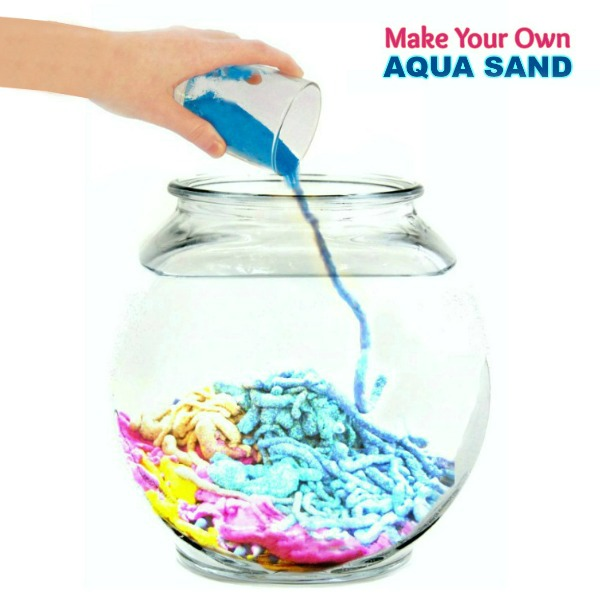 FUN KID PROJECT: Make aqua sand!! #aquasand #aquasandrecipe #aquasanddiy #sandrecipesforkids #playrecipesforkids