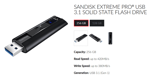 SanDisk Extreme PRO USB 3.1 Solid State Flash Drive