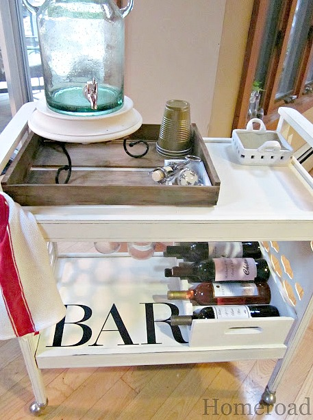 A beautiful DIY cart for a party bar.