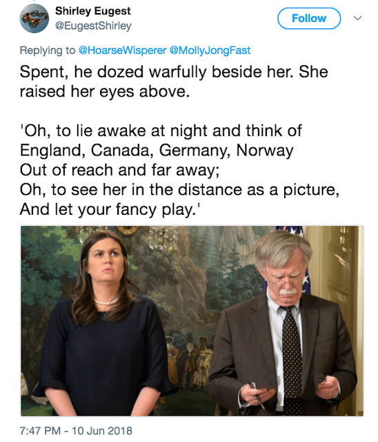 @EugestShirley Twitter fan-fiction on love interests White House Press Secretary Sarah Huckabee Sanders and new National Security Advisor John Bolton