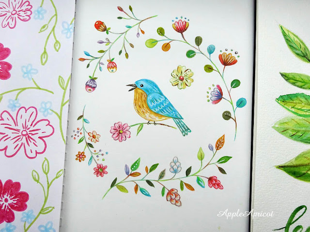 bird illustration in gouache by AppleApricot Wen