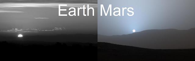 Sunset on Earth & Mars