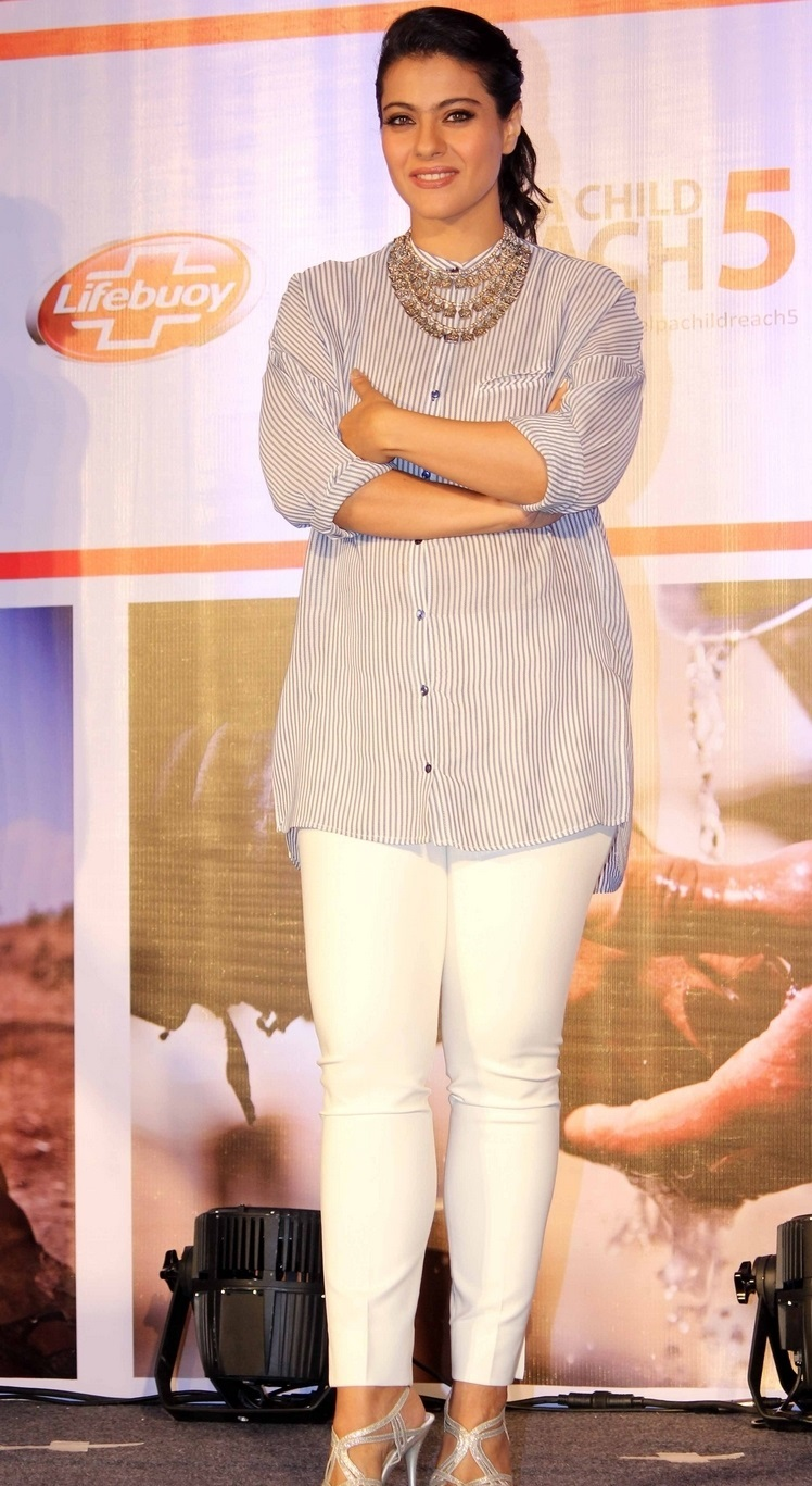 Glamours Bollywood Queen Kajol Stills In White Shirt Pant At Event