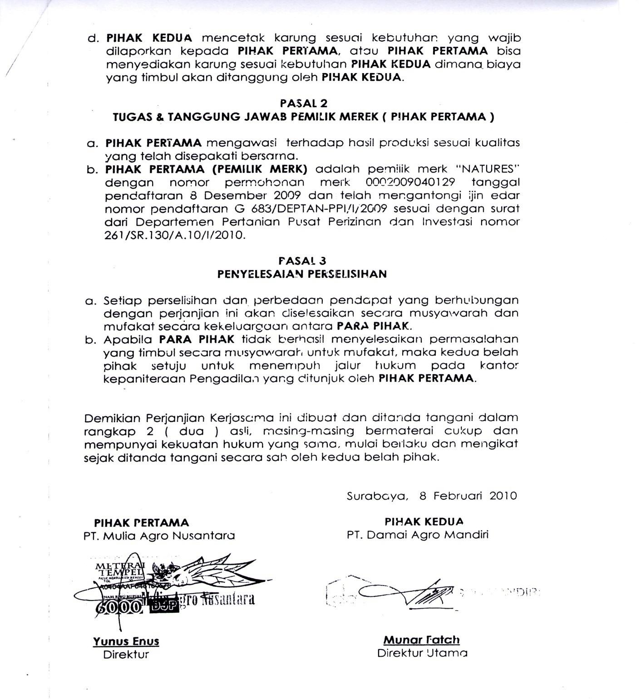 Contoh Surat Pernyataan Perjanjian Detil Gambar Online