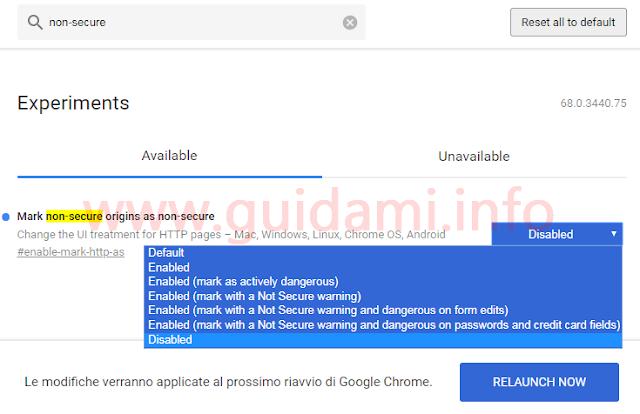 Google Chrome pagina esperimenti disattivare sigla sito http Non sicuro