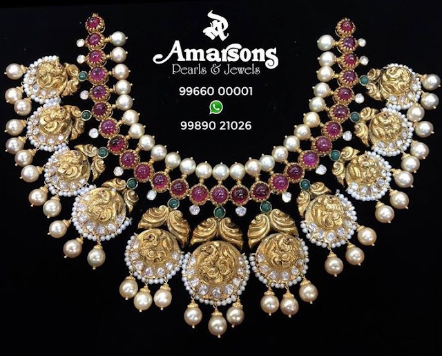 Peacock Ruby Choker by Amarsons