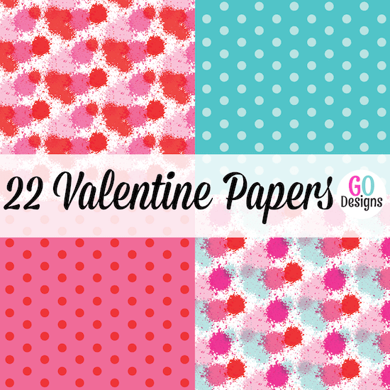 New Valentine paper packs! 22 beautiful papers in red, pink, aqua and white. Lots of variety and great prices!