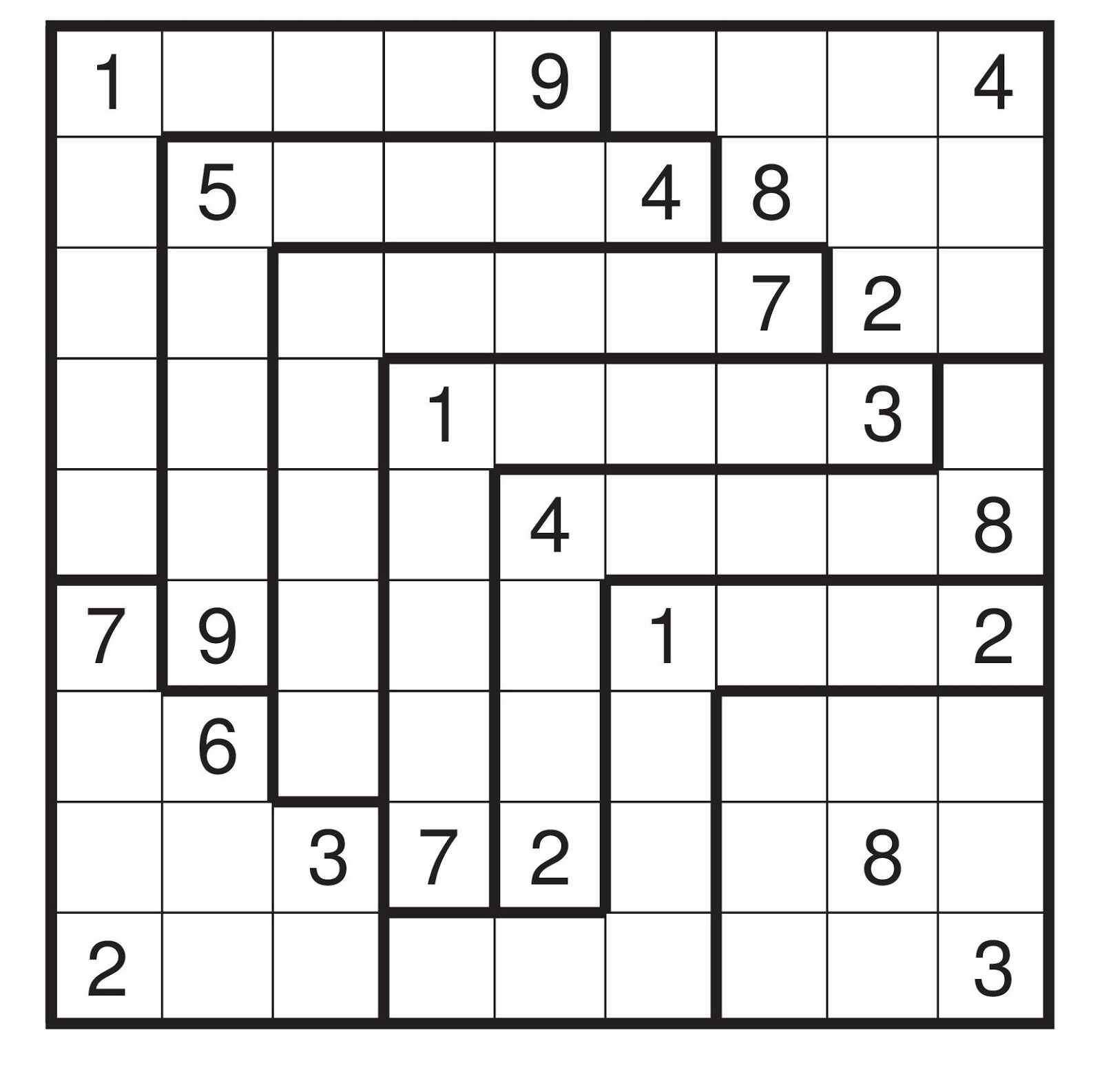 Impeccable image in irregular sudoku printable