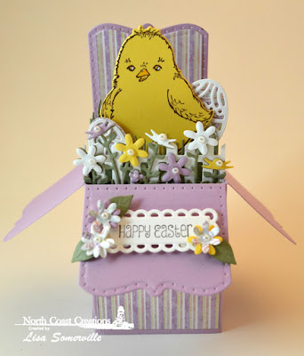 North Coast Creations Stamp Set:Hey Chickie, North Coast Creations Custom Dies: Chick, Our Daily Bread Designs Custom Dies: Circle Scalloped Rectangles, Surprise Box, Easter Eggs, Fence Border, Bitty Blossoms, Grass Hill, Flower Box Fillers, Paper Collection: Easter Card 2016