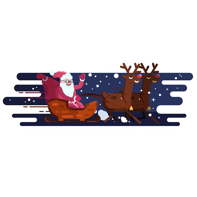 Christmas background sleighing santa claus reindeers icons Free vector files templates