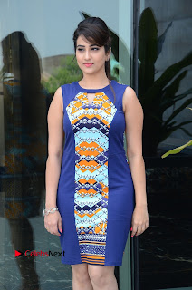 Actress Anchor Manjusha Pictures in Blue Short Dress at Jaguar Movie Success Meet .COM 0109.jpg