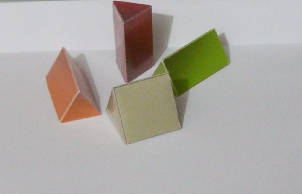 Triangular prisms made from nets