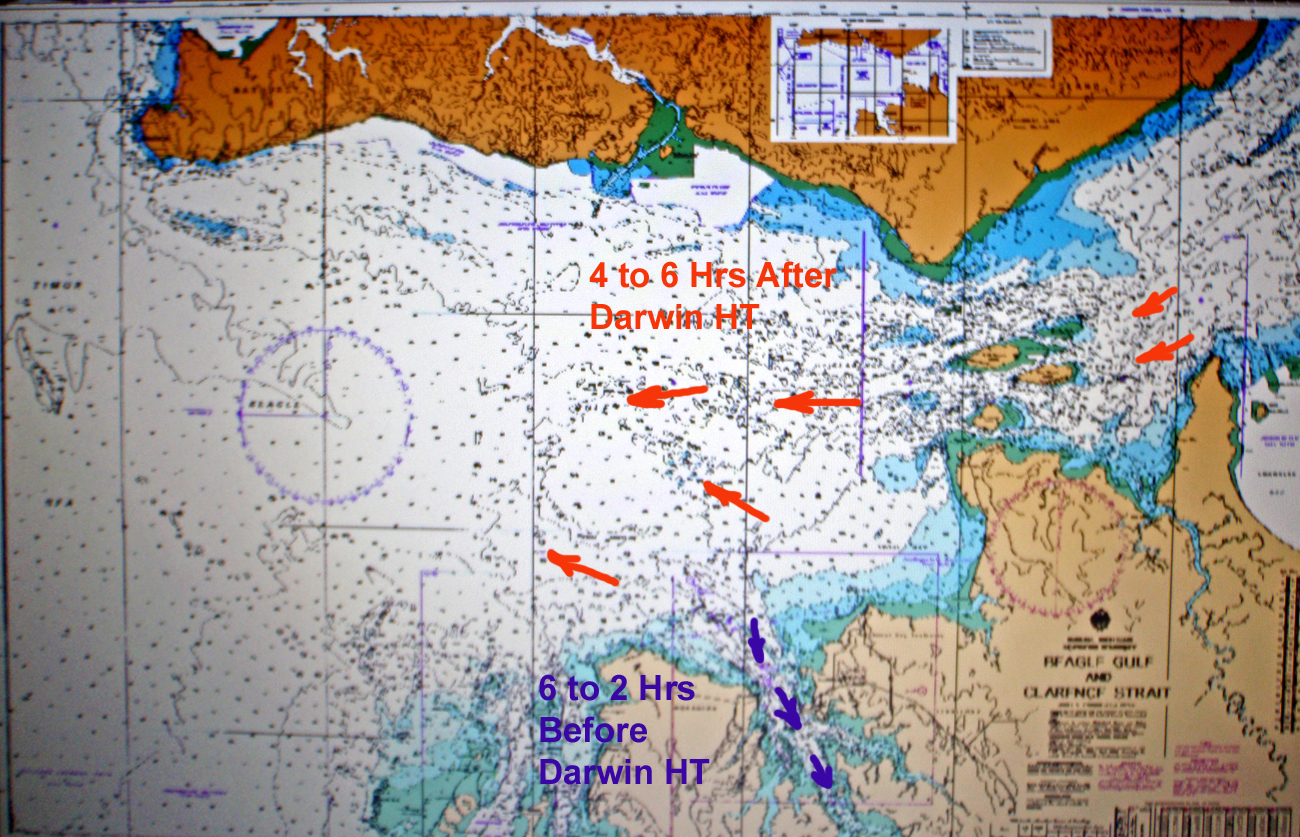Sailing aussie coast port essington to darwin chart showing tidal flows in beagle gulf at 4 to 6 hours after darwins high tide time and darwin harbour 6 to 2 hours before darwins high tide times geenschuldenfo Images
