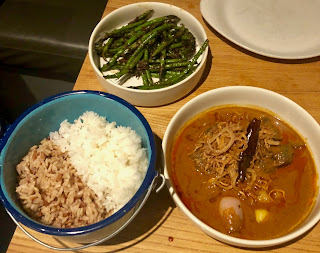 Massaman curry beef, pole beans and rice at Kin Khao
