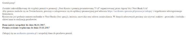 Wiadomość dla uczestników promocji Nest Konto z premią gwarantowaną 75 zł