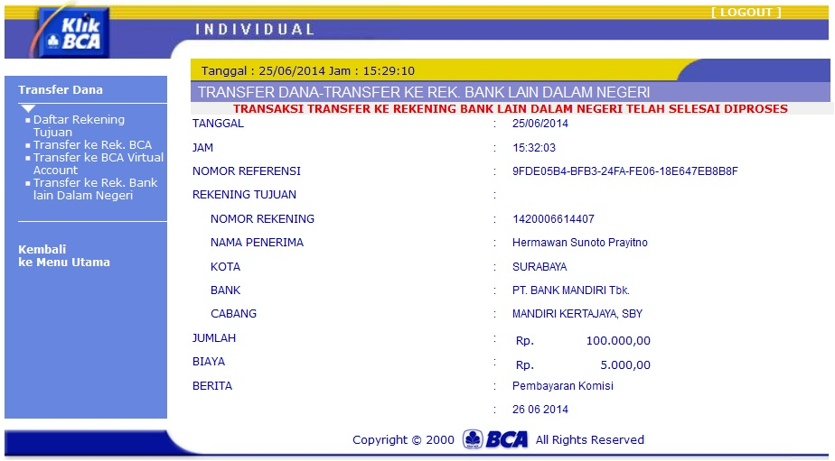 CARA TRANSFER UANG LEWAT INTERNET BANKING BCA KLIKBCA.COM