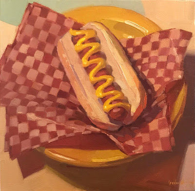 hot dog painting by sarah sedwick