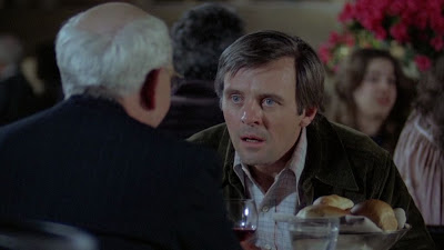 "Anthony Hopkins as Charles ""Corky"" Withers, Burgess Meredith as Ben Greene, restaurant scene before Corky's disappearance in Magic, Directed by Richard Attenborough"