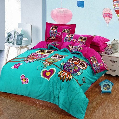 Cartoon Kids Boys Girls 3D Owl Bedding Set