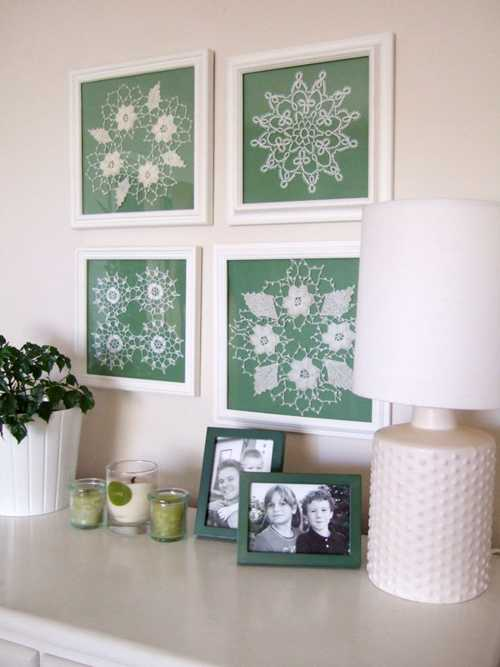Quadros com toalhinhas de croch framed crochet doilies for Decoracion del hogar en crochet