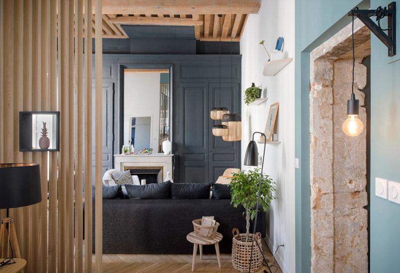 texture e carattere in un appartamento a lione la tazzina blu. Black Bedroom Furniture Sets. Home Design Ideas