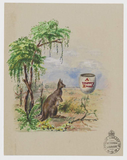 """Christmas Card design depicting a Kangaroo in the fields with the words """"A Merry Xmas""""."""